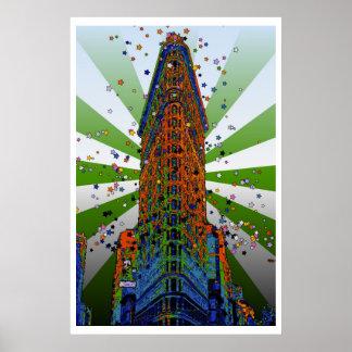 Flatiron Building - Green & White Rays Poster