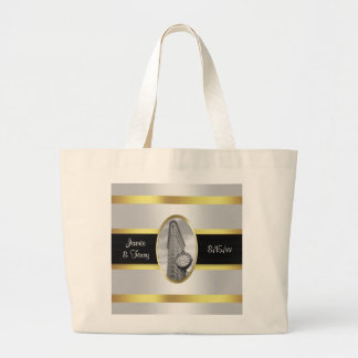 Flatiron Building Invite Suite White Gold BW Large Tote Bag