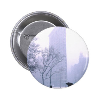 Flatiron Building Snow Storm NeW York Pinback Button