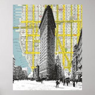 Flatiron Building vintage landmark  NYC Map backgr Poster