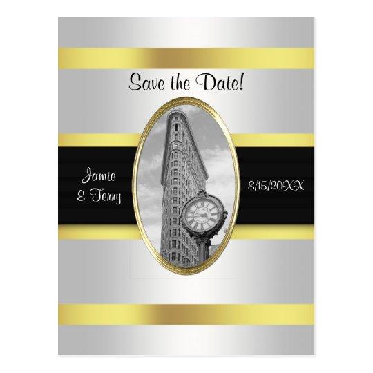 Flatiron Building White Gold BW Save the Date Postcard