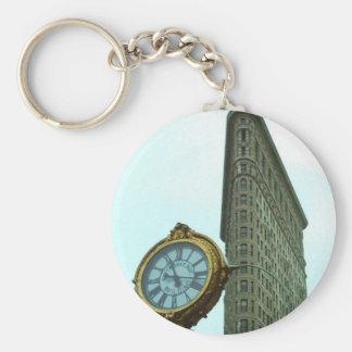 Flatiron Bulding y reloj Llavero Redondo Tipo Pin