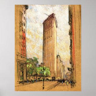 Flatiron que construye New York City 1904 Póster