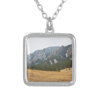 Flatirons Boulder Colorado Winter View Silver Plated Necklace