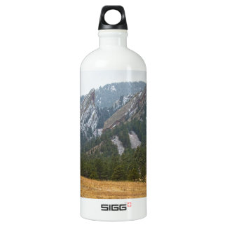 Flatirons Boulder Colorado Winter View Water Bottle