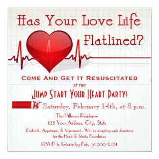 Flatlined Heart Graph Anti-Valentine's Day Invite
