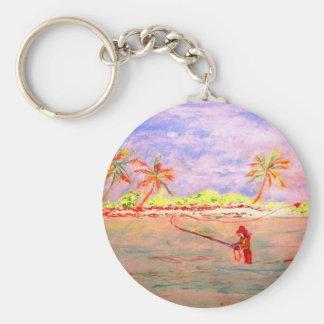 flats flyfishing  girl basic round button keychain