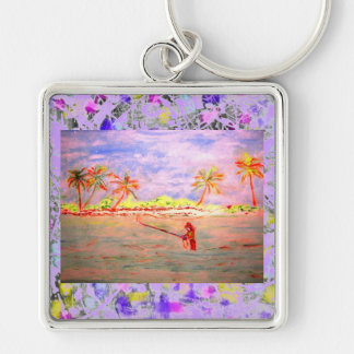 flats flyfishing girl drip Silver-Colored square keychain