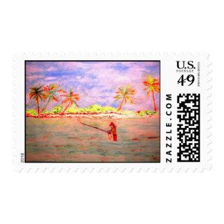 flats flyfishing girl postage stamp