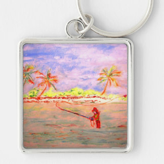 flats flyfishing girl watercolour Silver-Colored square keychain