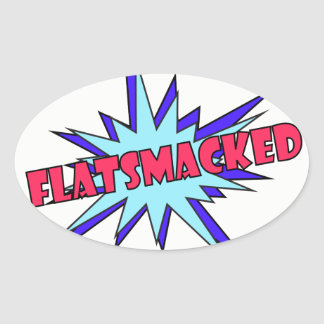 #FLATSMACKED Oval Stickers Red