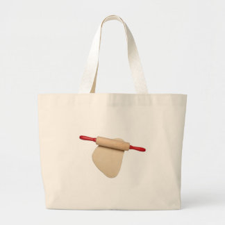 Flattened dough with rolling pin large tote bag