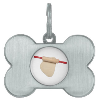 Flattened dough with rolling pin pet tag
