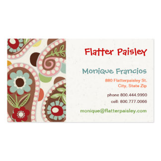 Flatter Paisley -Pink - Business Card
