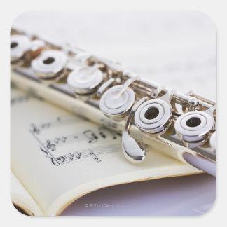 Flauta 2 pegatina cuadrada