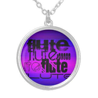 Flauta; Azul violeta y magenta vibrantes Colgante Redondo