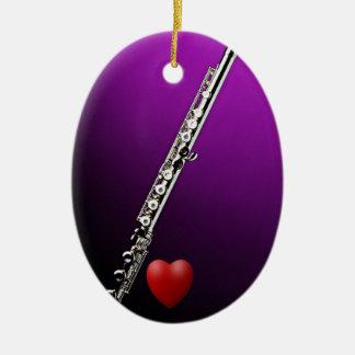 Flauta con el ornamento del corazón adorno de navidad