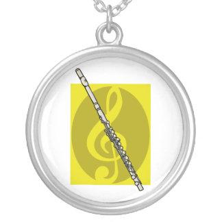Flauta con imagen amarilla del diseño del clef agu colgante redondo