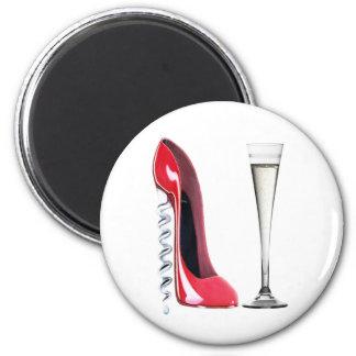 Flauta de champán roja del zapato del estilete del imán redondo 5 cm