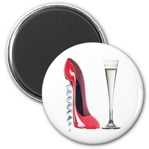 Flauta de champán roja del zapato del estilete del imanes para frigoríficos