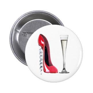 Flauta de champán roja del zapato del estilete del pin
