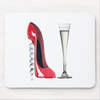 Flauta de champán roja del zapato del estilete del tapetes de raton