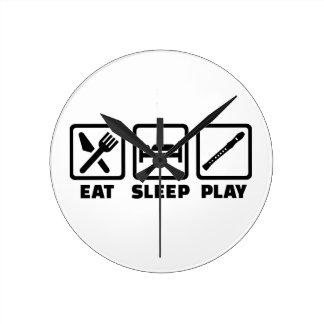 Flauta de Eat Sleep Play Relojes De Pared