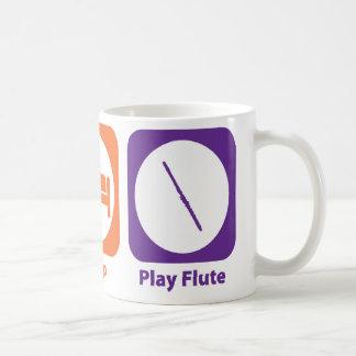 Flauta de Eat Sleep Play Taza Básica Blanca