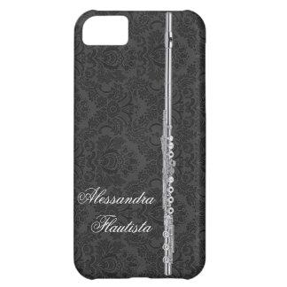 Flauta de plata en el damasco negro funda para iPhone 5C