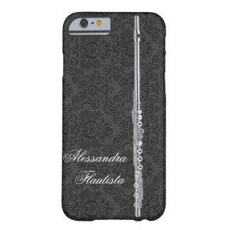 Flauta de plata en personalizable negro del efecto funda para iPhone 6 barely there