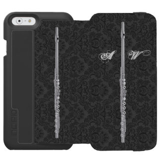 Flauta de plata en personalizable negro del efecto funda billetera para iPhone 6 watson