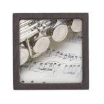 Flauta en partitura caja de recuerdo de calidad