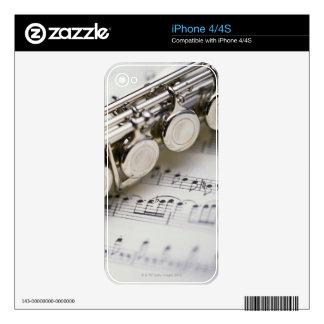Flauta en partitura calcomanías para iPhone 4
