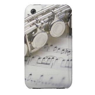 Flauta en partitura iPhone 3 Case-Mate cárcasas