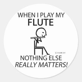 Flauta nada materias otras etiqueta redonda