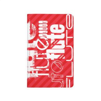 Flauta; Rayas del rojo del escarlata Cuaderno