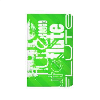 Flauta; Rayas verdes de neón Cuaderno