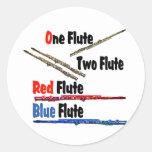Flauta roja del azul de la flauta pegatinas redondas