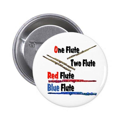 Flauta roja del azul de la flauta pin redondo 5 cm