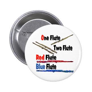 Flauta roja del azul de la flauta pin redondo de 2 pulgadas