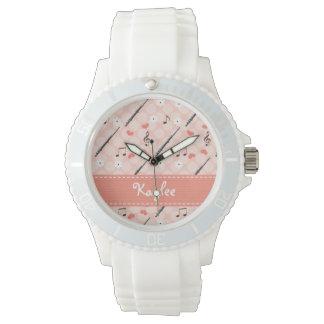 Flauta rosada personalizada relojes de mano