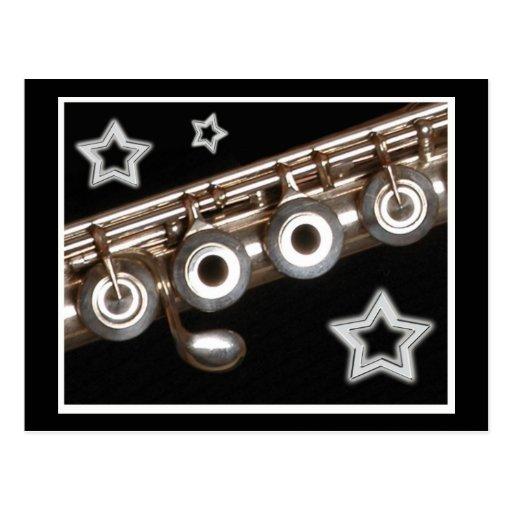 Flauta y estrellas postal