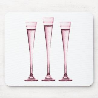 Flautas de champán color de rosa alfombrilla de ratón
