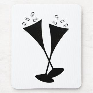 Flautas de champán en blanco y negro alfombrilla de ratón