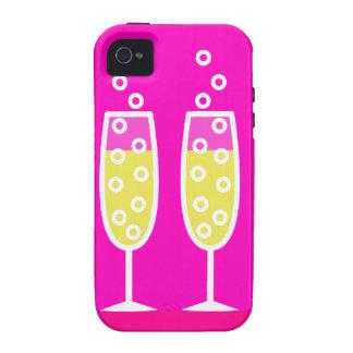 Flautas de champán - rosa iPhone 4 carcasas