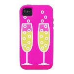 Flautas de champán - rosa vibe iPhone 4 carcasas