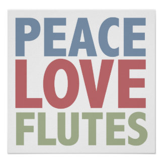 Flautas del amor de la paz póster