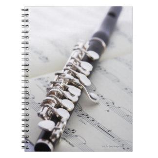Flautín en una cuenta libro de apuntes