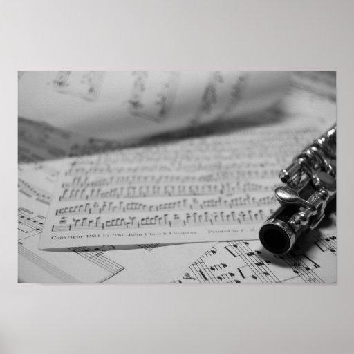 Flautín y poster de la partitura póster
