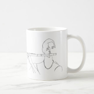 Flautist Line Drawing Coffee Mug with Music Quote